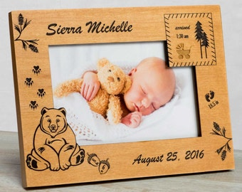 Personalized Baby Picture Frame, Baby Girl Picture Frame, Picture Frame Baby Girl, New Baby Girl Frame, Baby Girl Frame, Bear Baby Frame