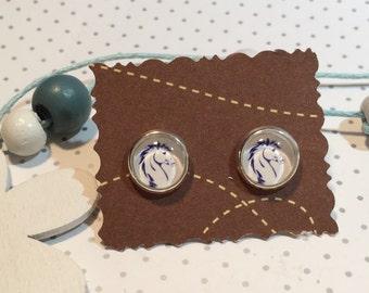 Horse horse head earrings cabochon