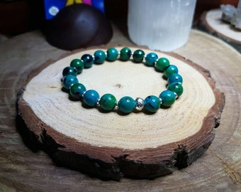 Chrysocolla 8mm Crystal Bead Bracelet with Hill Tribe Silver Disc Spacers and Centring Ohm Bead