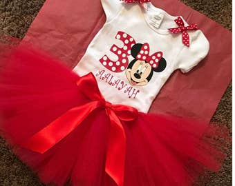 Minnie Mouse Birthday Tutu Set or Shirt Only
