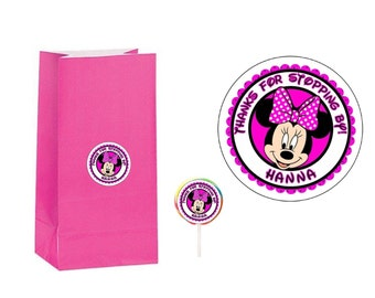 20 Minnie Mouse 2 inch Stickers Party Bag Tags Favors Lollipop Labels Personalized