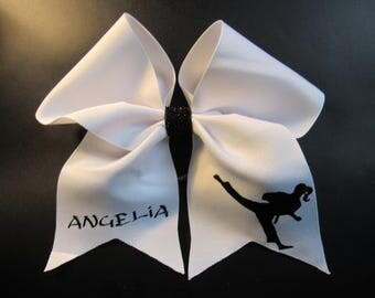 Taekwondo, karate, martial arts, custom, personalized cheer bow