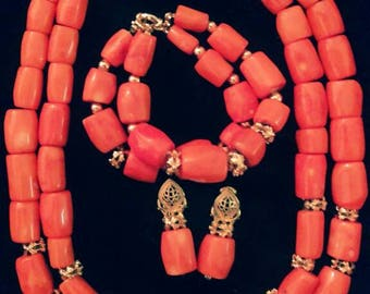 African Coral jewelry set
