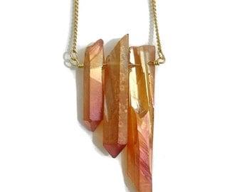 Triple Sunshine Aura Quartz Necklace