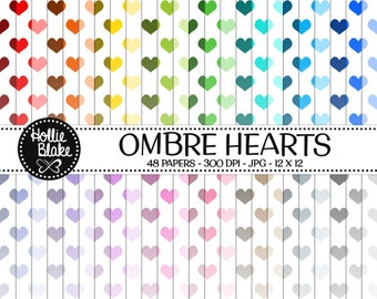 50% off SALE!! 48 Ombre Hearts Digital Paper • Rainbow Digital Paper • Commercial Use • Instant Download • #HEARTS-102-1-O