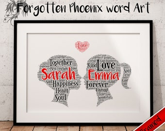 Valentine LGBT Couple Gift - Mrs&Mrs Lesbian Gay Same Sex Personalised Word Art A4 Print