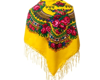Big YELLOW folk SCARF shawl with flowers and fringes POLISH scarves fashion colors