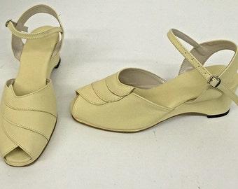 Lauren Pale Yellow Wedge Sandals