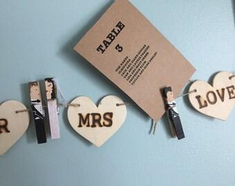 Wood Mr Mrs Decor - Table Number Holder Wedding Set Hand Painted - Bridal Shower Favors For Guests - Magnet Option - Bridal Decor - Mr Mrs