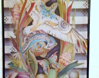 Batik painting author's vintage Life original gift