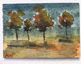 "Tree Dance - mini Original Watercolor Painting by Anne Pouch ACEO ATC 2.5"" x 3.5"""