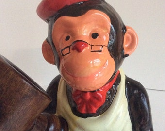 Mid century monkey nutcracker. French chef monkey nutcracker set.