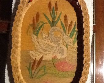 Vintage Basket Tray With Hand painted Swan.