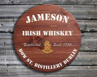 Jameson Irish Whiskey - Barrel End Style Wooden Pub Sign - Hand Made in Ireland