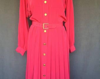 Vintage 1980s Hot Pink Shirtwaist Dress