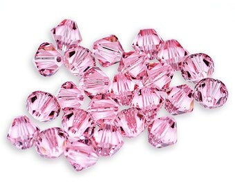 Swarovski Crystal Bicone Light Rose Beads 5301/5328- Available in 4mm, 6mm