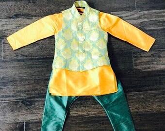 Kids Boys Mustard Yellow Raw Silk Sherwani/ Kid Boys  Indian Wear/ Boys Kurta Pyjama with Vest