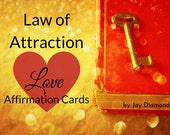 Law of Attraction Love Affirmation cards - Reiki infused