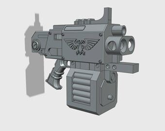 Unofficial | Warhammer 40K Inspired | Storm Bolter 3DFW Pattern | Life Sized | Unofficial