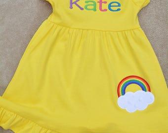 Rainbow Ruffle Dress ~ Toddler and Little Girl Sizes ~ Yellow Dress