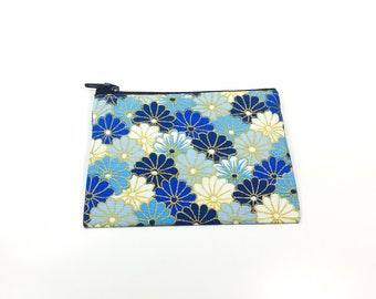 Change Purse Pouch Wallet Card Holder Zipper Blue White Gold Asian Flowers