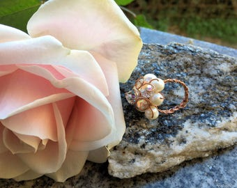 Flower Ring Copper and Pearls