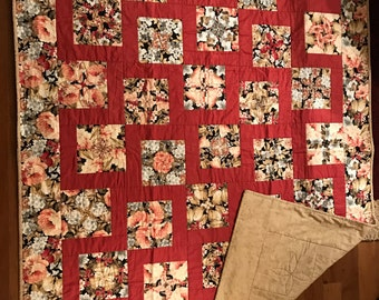 Handmade Quilt, Homemade Quilt, Custom Quilt, Quilts, Lap Quilt, Throw Quilt, Rust, Burgundy, Tan, Floral, Stack & Whack Floral