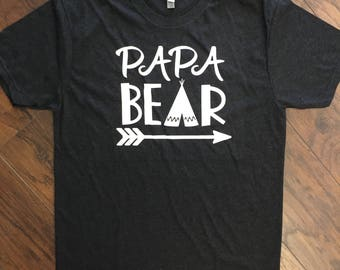 Heather Black Papa Bear Tee