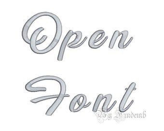 Open Embroidery Font Designs 4 size Instant Download