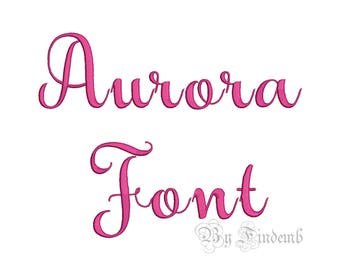 Aurora Embroidery Font Designs 4 size Instant Download