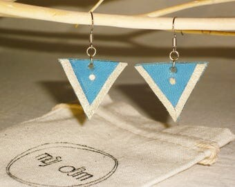 Graphic earrings leather full-grain lamb blue and gold