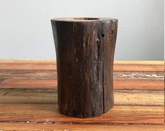 Single Wood Candle Holder