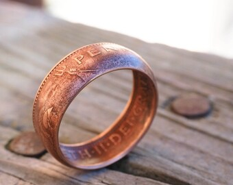 British Large Penny Coin Ring