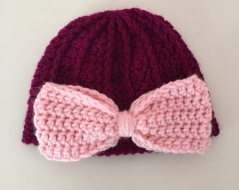 Crochet Baby Hat with Bow, Crochet Baby Hat, Baby Girl Hat, Photo Prop Hat