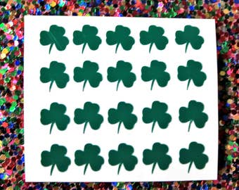 20 St. Patrick's Day Shamrock vinyl decals for nail art available in 20 colours. Nail stickers, nail decals, nail stencil, clovers, ireland