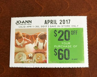 Jo-ann Fabric Craft April Coupon WOW!! 20 dollars OFF 60 dollar purchase includes sale items Joann---WOW Get a May coupon Free!!!!!!