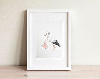 Illustration cigogne, Stork Illustration / fait main, handmade