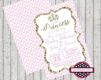 Princess Shower Invite/Princess Invite/Baby Shower Invite/BAby Shower/Glitter Invite/Pink Gold Glitter/Pink Chevron/Gold Pink and White