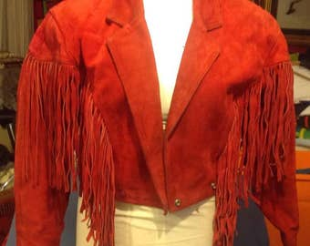 "Red Leather Fringed ""Chia"" Jacket - Small"