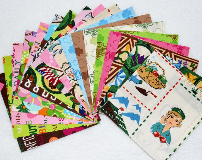 "Robert Kaufman Girl Scout CHARM PACK 5""x5"" - 42 pieces - 100% Kona Cotton - RARE"