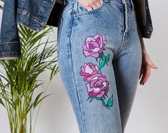 Handpainted jeans with Roses size 38