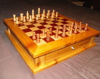 Mahogany Maple & Cedar Custom Chess/Checker Board and Pieces