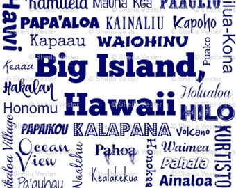 Big Island Hawaii Cities fabric - by the yard - white and navy blue