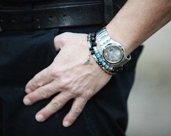 mans Bracelets Set, Beaded bracelets Men jewellery, Black bracelets, Beaded Bracelet, Mens Bracelet,  black bracelet,  gift for mens