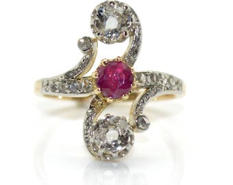 Art nouveau Ruby and diamond ring