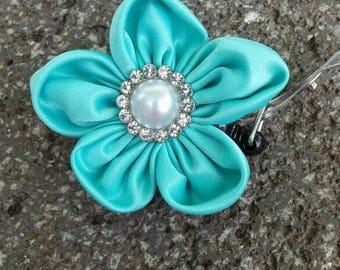 Aqua flower badge reel