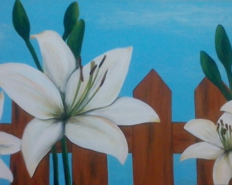 """Painting """"Lilies with fence"""""""