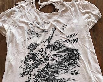 Raymond Pettibon Tahirt rare, signed Art shredded