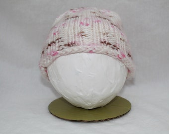 Hand Knitted Infant Hats - White/Pink/Brown