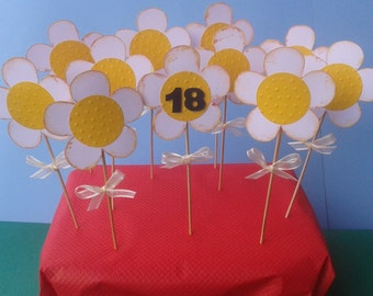 12 big toppers/ flowers / holiday decorations /party decorations / girls / cupcake toppers / flowers decor / birthday /